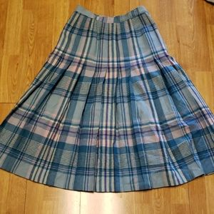VTG Pendleton 100% wool pleated plaid skirt sz 8